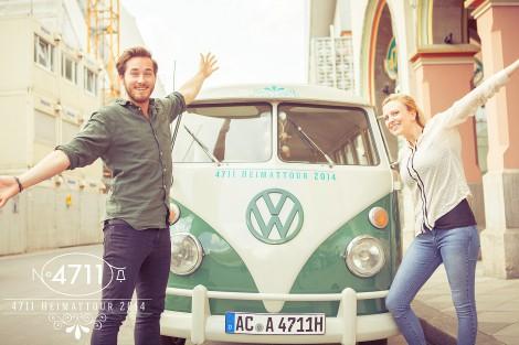 Werbe-Fotografie in Köln für People Aufnahmen mit VW-Bully der Werbung für 4711 Kölnisch Wasser